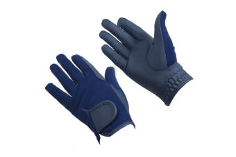 Bitz Unisex Adults Synthetic Leather Gloves (Navy)