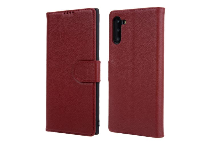 For Samsung Galaxy Note 10 Case Red Cowhide Genuine Leather Flip Wallet Cover
