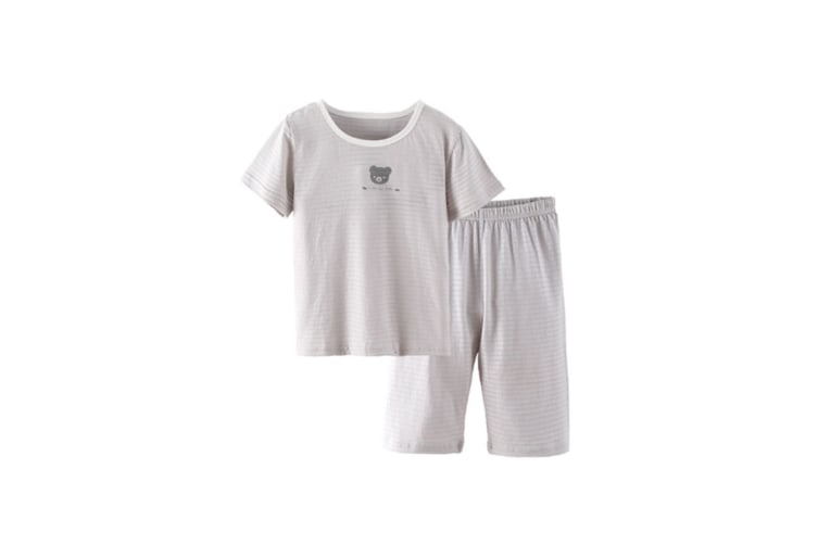 2Pcs Boys Girls Soft Cotton Short Sleeved Home Suit - 17 Grey 100Cm
