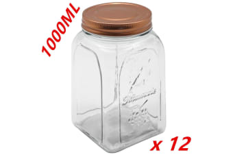 12 x 1000ml VINTAGE GLASS CANISTER ROSE GOLD LID Food Storage Cookie Kitchen Jars 1L