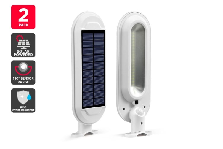 Solar Powered Wall Mounted Motion Sensor LED Light (White, Zara) - 2 Pack