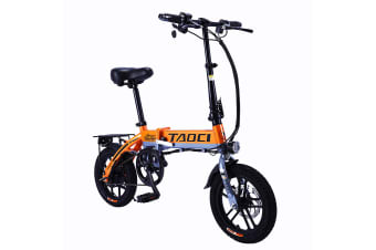 "TAOCI 250W 36V Folding Electric Bike 14"" eBike Road with Battery Alloy Frame Black/Yellow"