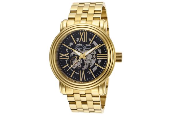 Lucien Piccard Domineer Automatic Skeletonized Gold-Tone and Black (LP-11912-YG-11)