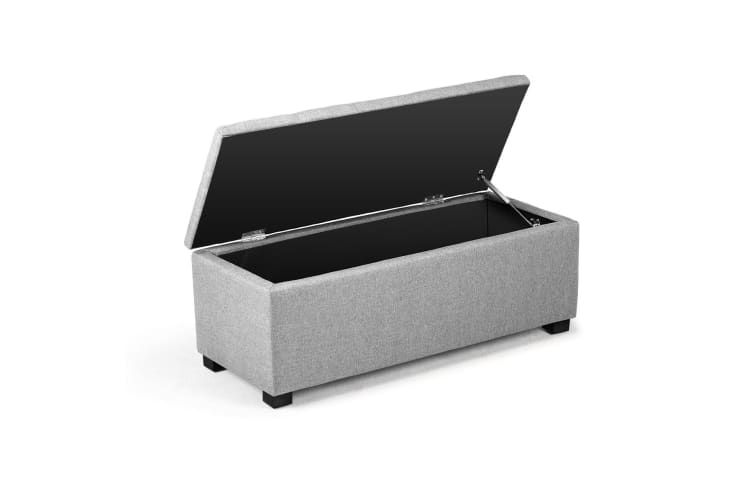 Wondrous Linen Fabric Storage Ottoman Bench With Gas Lift Grey Caraccident5 Cool Chair Designs And Ideas Caraccident5Info