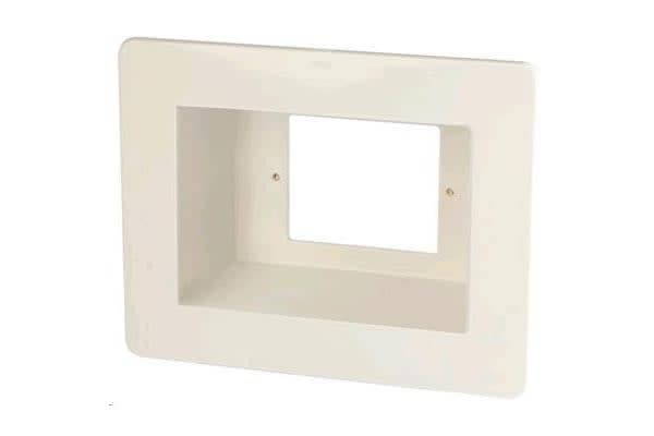 Dynamix Recessed Wall Box with 2 x Amdex style outlets and 1 x GPO Slot.