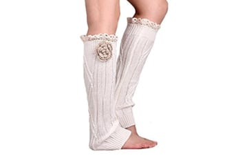 Soft Knit Knee High Boot Cuffs Leg Warmers With Handmade Flower Lace Trim White