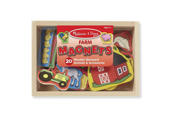 Melissa and Doug Wooden Farm Magnets - Box of 20