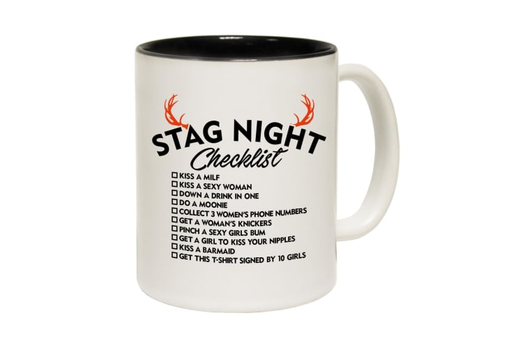 123T Funny Mugs - Stag Night Checklist - Black Coffee Cup