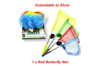 Red Extendable Butterfly Catcher Mesh Net Insect Bug Fish 85cm Retractable Kids Toy