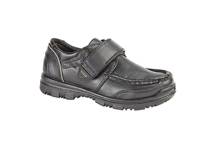 US Brass Boys Mark / Marvin Touch Fastening Boat Shoes (Black) (10 UK)