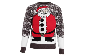 Brave Soul Mens Padded Belly Santa Knitted Christmas Jumper (Charcoal/Red) (X-Large)