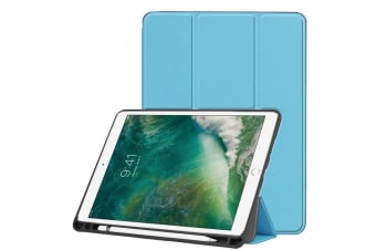 For iPad Air 3 (2019) Case Karst Texture PU Leather Folio Cover Pen Slot Blue