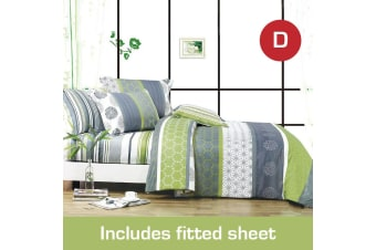 Double Size Dexter Design Cotton Quilt Cover + Fitted Sheet