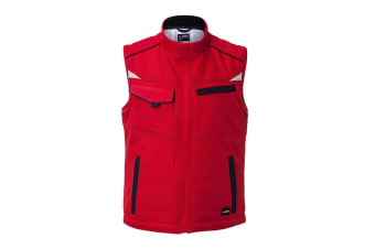 James and Nicholson Unisex Workwear Softshell Padded Vest Level 2 (Red/Navy) (4XL)