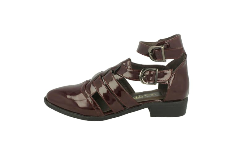 Spot On Womens/Ladies Strappy Shoes (Burgundy) (UK 6)