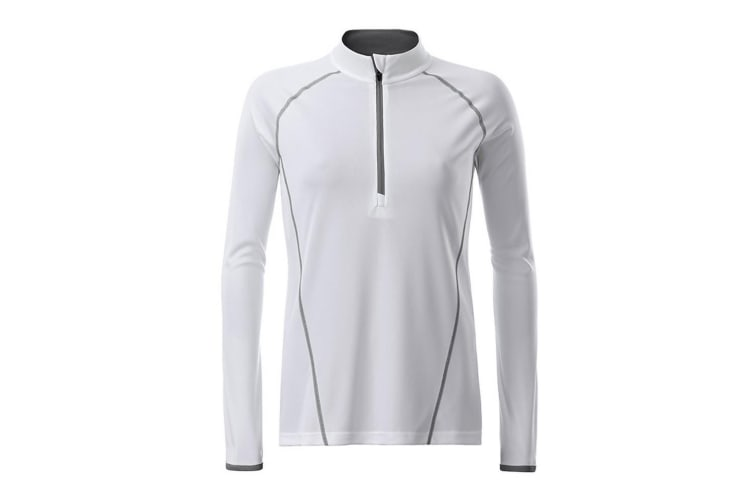 James and Nicholson Womens/Ladies Long Sleeve Sports Top (White/Silver) (L)