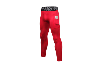 Men'S Compression Base Layer Tights Pants Fitness Running Red M