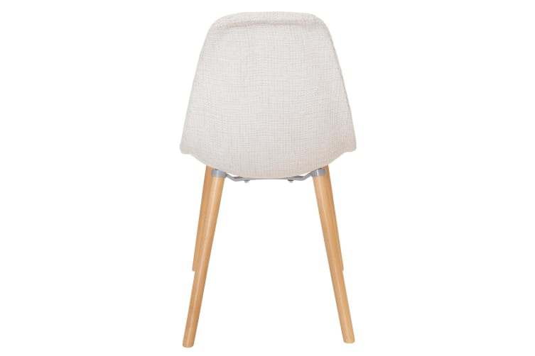 Replica Eames DSW Hal Inspired Chair | Ivory Fabric Seat | Natural Beech Legs