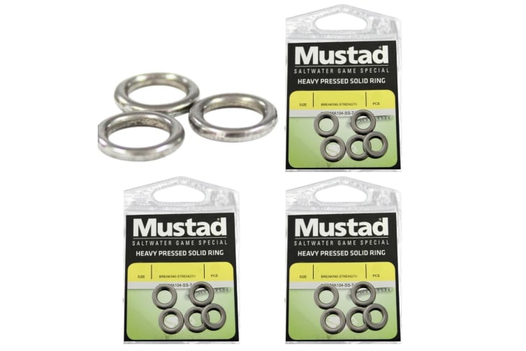 3 x Packets of Size 7 Mustad Stainless Steel Heavy Pressed Solid Rings For Fishing Lures