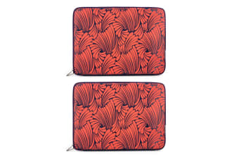 "2x Florence Broadhurst Case/Sleeve Pouch Bag Cover f/15.5"" Notebook/Laptop Coral"