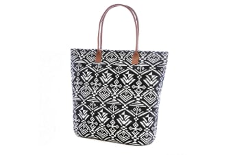 Womens/Ladies Woven Aztec Pattern Handbag (Black) (One Size)