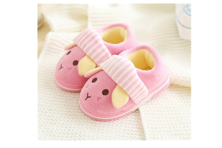 Unisex Cute Home Slippers Kid Fur Lined Winter House Slippers Warm Indoor Slippers - Pink Pink 14-15(13.5Cm Length)