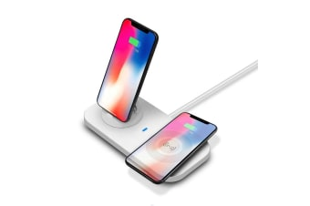 3 in 1 Qi Wireless Charging Station for Android & Apple devices Station Dock - White