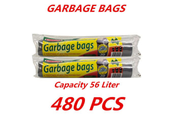 480 x 56L Heavy Duty Bin Garbage Bags Liners Rubbish Bags Black Garden Clean Rectangle
