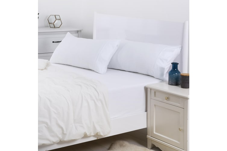 Dreamaker 250TC Plain Dyed King Size Pillowcases - Twin Pack - 90X50cm White