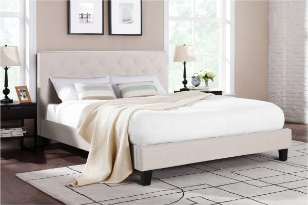 Shangri-La Bed Frame - Sorrento Collection (Beige, Double)