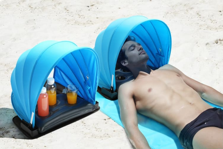Komodo Personal Beach Shade With Pillow, Cup & Phone Holder