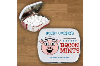 Bacon Flavoured Mints Crispy Bacon & Mint Flavour Breath Hard Lolly Tin Savoury Meat Lover