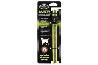 Canac Reflective Safety Dog Collar (Fluorescent Yellow)