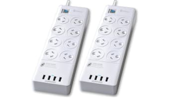2pc Sansai Power Board 8 Way Outlets Socket 4 Usb Charger Ports/Surge Protector