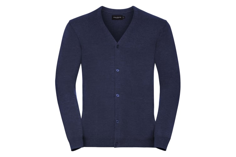 Russell Collection Mens V-neck Knitted Cardigan (Denim Marl) (2XL)