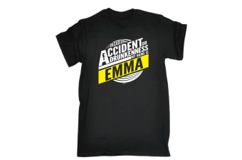 123T Funny Tee - Emma In Case Of Accident Or Drunkenness - (Small Black Mens T Shirt)