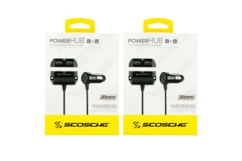 2PK Scosche PowerHub 10W Mountable Dual USB Cigaret Car Charger for Smartphones