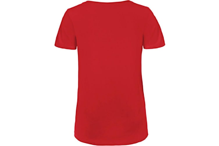 B&C Womens/Ladies Favourite Organic Cotton V-Neck T-Shirt (Red) (S)