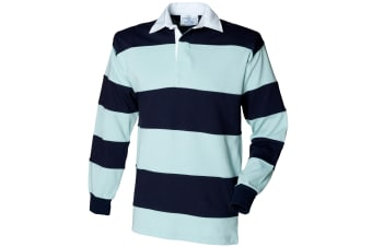 Front Row Sewn Stripe Long Sleeve Sports Rugby Polo Shirt (Duck Egg/Navy)