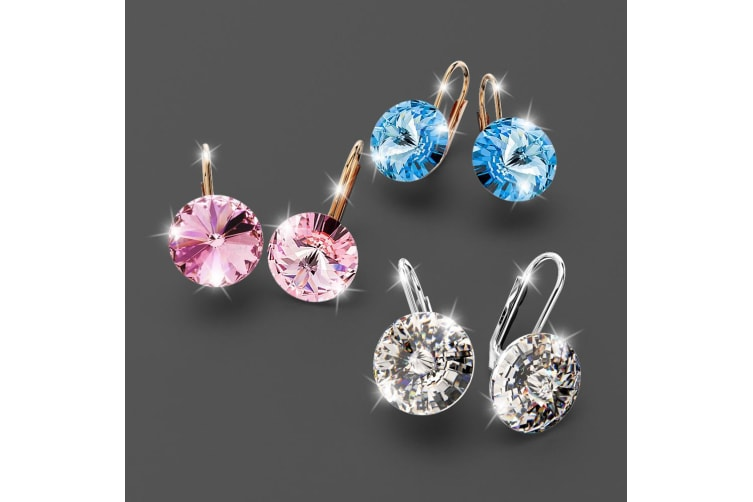 Diana Rose Gold Crystal Pink Drop Earrings