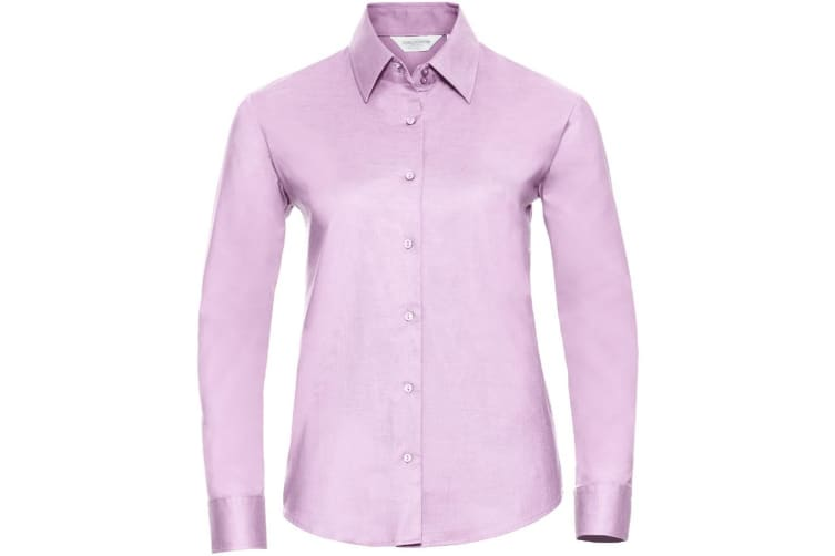Russell Collection Ladies/Womens Long Sleeve Easy Care Oxford Shirt (Classic Pink) (2XL)