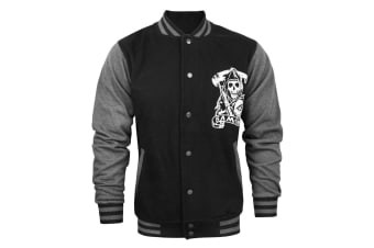 Sons Of Anarchy Official Mens Reaper Varsity Jacket (Grey/Black)