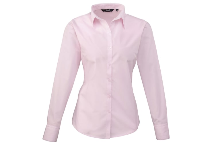 Premier Womens/Ladies Poplin Long Sleeve Blouse / Plain Work Shirt (Pink) (10)