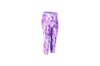 Women'S High Waist Printed Yoga Pants Tummy Control Workout Leggings - Fog Cloud Purple Purple M