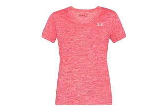 Under Armour Women's UA Tech V-Neck T-Shirt (Neon Pink/Steel)