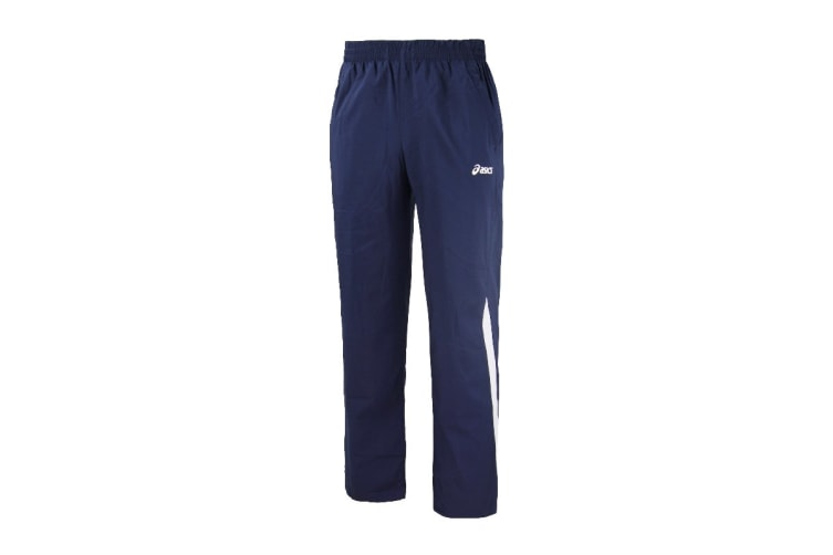 ASICS Men's Woven Pants (Navy Blue, Size L)