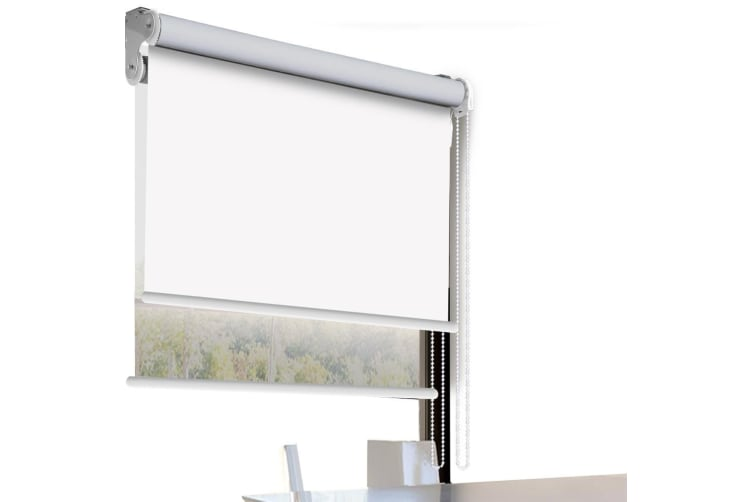 Modern Day/Night Double Roller Blind Commercial Quality 60-240cm(W) 210cm(D) NEW  -  150(W)x210(D)cm--White (white)