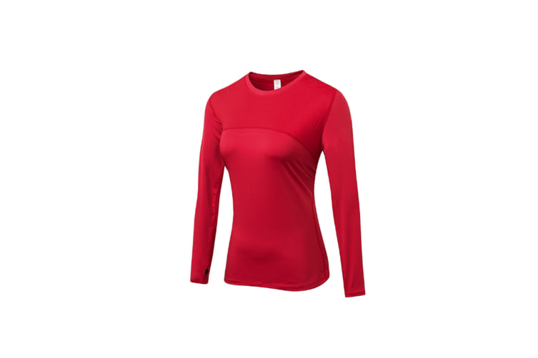 Women'S Compression Tops Long Sleeve Moisture Wicking Workout T-Shirt - Red Red M
