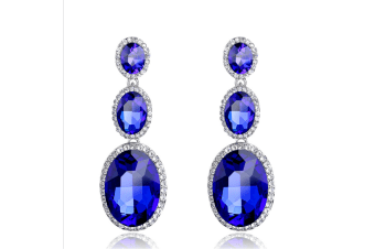 Geometric Shape Long 3 pcs Gems Drop Earrings Blue