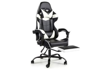 Artiss Gaming Office Chairs Computer Seating Racing Recliner Racer Footrest White